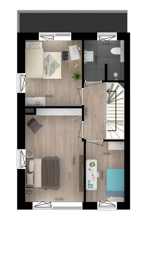 Stadsvilla's 1e verdieping